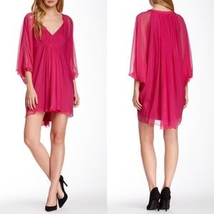 DVF Fleurette Pink Mod sheer silk mini dress